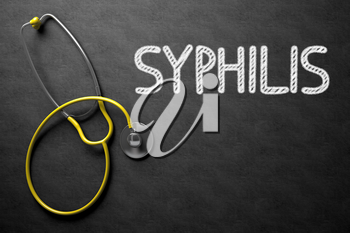 Black Chalkboard with Syphilis - Medical Concept. Medical Concept: Syphilis on Black Chalkboard. 3D Rendering.