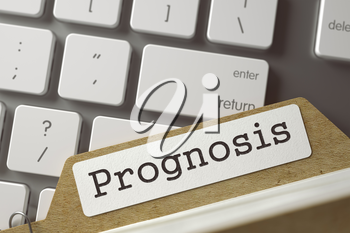 Prognosis. Folder Index Overlies Modern Metallic Keyboard. Business Concept. Closeup View. Blurred Toned Image. 3D Rendering.