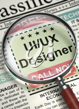 Ui ux Designer - Searching Job in Newspaper. Column in the Newspaper with the Classified Ad of Uiux Designer. Hiring Concept. Blurred Image with Selective focus. 3D Illustration.