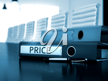 Price - Business Illustration. Office Binder with Inscription Price on Working Black Table. Price - Ring Binder on Wooden Black Table. Price. Business Illustration on Blurred Background. 3D Render.