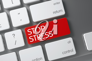 Stop Stress Concept Modern Laptop Keyboard with Stop Stress on Red Enter Keypad Background, Selected Focus. 3D Render.