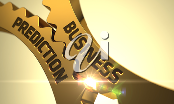 Business Prediction on Mechanism of Golden Cog Gears with Lens Flare. 3D.