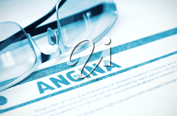 Diagnosis - Angina. Medicine Concept with Blurred Text and Glasses on Blue Background. Selective Focus. 3D Rendering.
