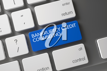 Concept of Bankruptcy Credit Counseling, with Bankruptcy Credit Counseling on Blue Enter Keypad on Metallic Keyboard. 3D Illustration.