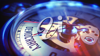 Democracy. on Vintage Pocket Watch Face with Close View of Watch Mechanism. Time Concept. Vintage Effect. Watch Face with Democracy Wording on it. Business Concept with Light Leaks Effect. 3D.