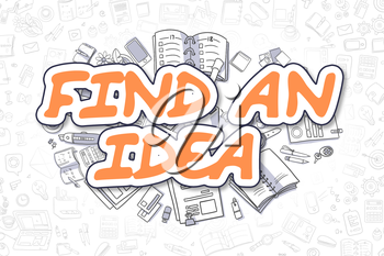 Cartoon Illustration of Find An Idea, Surrounded by Stationery. Business Concept for Web Banners, Printed Materials.