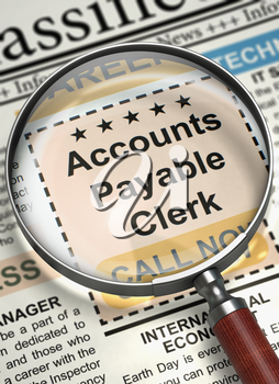 Illustration of Small Advertising of Accounts Payable Clerk in Newspaper with Loupe. Newspaper with Jobs Accounts Payable Clerk. Concept of Recruitment. Blurred Image with Selective focus. 3D Render.