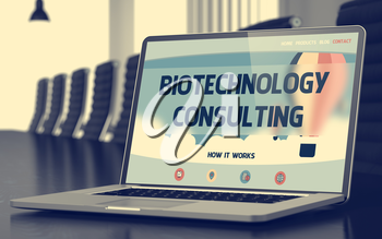 Mobile Computer Screen with Biotechnology Consulting Concept on Landing Page. Closeup View. Modern Conference Room Background. Toned Image. Blurred Background. 3D.