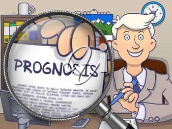 Prognosis through Magnifier. Businessman Holds Out a Paper with Concept. Closeup View. Multicolor Modern Line Illustration in Doodle Style.