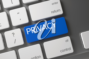 Privacy Concept: Modern Laptop Keyboard with Privacy, Selected Focus on Blue Enter Keypad. 3D Render.