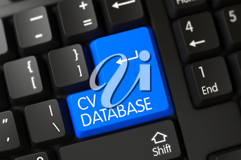 CV Database Key on Modernized Keyboard. 3D Render.