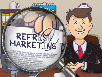 Man in Suit Showing a Text on Paper Refresh Marketing Concept through Magnifying Glass. Closeup View. Multicolor Modern Line Illustration in Doodle Style.