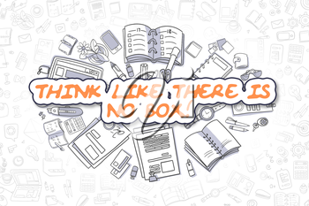 Cartoon Illustration of Think Like There Is No Box, Surrounded by Stationery. Business Concept for Web Banners, Printed Materials.
