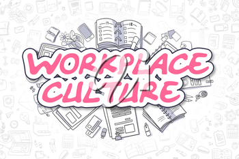 Workplace Culture Doodle Illustration of Magenta Word and Stationery Surrounded by Doodle Icons. Business Concept for Web Banners and Printed Materials.