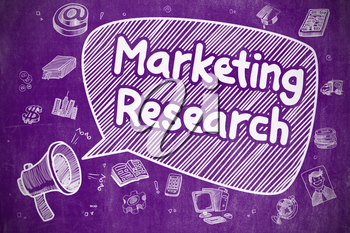 Business Concept. Megaphone with Inscription Marketing Research. Doodle Illustration on Purple Chalkboard.