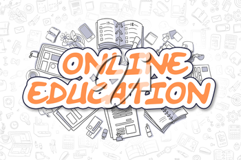 Online Education Doodle Illustration of Orange Text and Stationery Surrounded by Doodle Icons. Business Concept for Web Banners and Printed Materials.