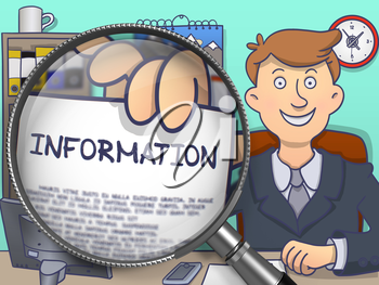 Officeman in Suit Looking at Camera and Showing a Concept on Paper Information Concept through Magnifier. Closeup View. Multicolor Doodle Illustration.