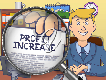Business Man Shows Paper with Inscription Profit Increase. Closeup View through Magnifying Glass. Multicolor Modern Line Illustration in Doodle Style.