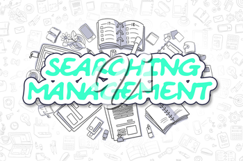 Cartoon Illustration of Searching Management, Surrounded by Stationery. Business Concept for Web Banners, Printed Materials.