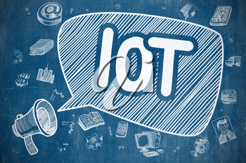 IOT - Internet Of Things on Speech Bubble. Doodle Illustration of Shouting Bullhorn. Advertising Concept.