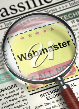 Webmaster - CloseUp View Of A Classifieds Through Magnifying Glass. Webmaster - Searching Job in Newspaper. Concept of Recruitment. Blurred Image. 3D Illustration.