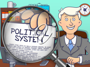 Political System on Paper in Business Man's Hand to Illustrate a Business Concept. Closeup View through Lens. Multicolor Doodle Illustration.