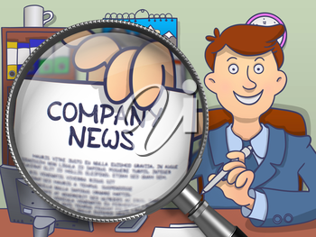 Company News on Paper in Business Man's Hand through Lens to Illustrate a Business Concept. Colored Modern Line Illustration in Doodle Style.