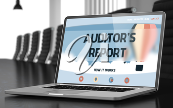 Modern Conference Hall with Laptop Showing Landing Page with Text Auditor's Report. Closeup View. Toned Image. Blurred Background. 3D Illustration.