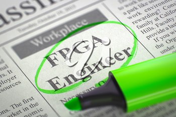 FPGA Engineer - Jobs Section Vacancy in Newspaper, Circled with a Green Highlighter. Blurred Image with Selective focus. Job Seeking Concept. 3D Illustration.