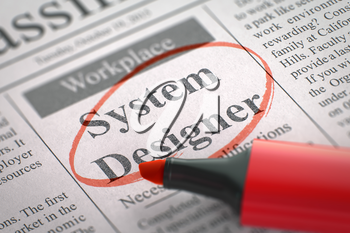 System Designer - Jobs in Newspaper, Circled with a Red Marker. Blurred Image with Selective focus. Concept of Recruitment. 3D Render.