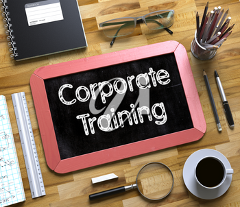 Small Chalkboard with Corporate Training Concept. Corporate Training Handwritten on Small Chalkboard. 3d Rendering.