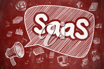 Shouting Loudspeaker with Phrase SaaS - Software As A Service on Speech Bubble. Doodle Illustration. Business Concept.