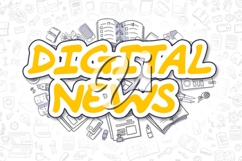 Doodle Illustration of Digital News, Surrounded by Stationery. Business Concept for Web Banners, Printed Materials.