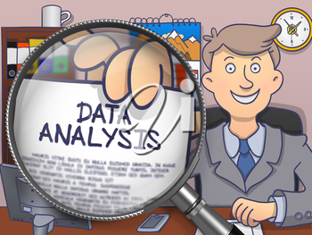 Data Analysis. Man Showing Paper with Text through Lens. Multicolor Modern Line Illustration in Doodle Style.