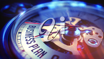Pocket Watch Face with Business Plan Phrase, CloseUp View of Watch Mechanism. Business Concept. Lens Flare Effect. 3D Render.