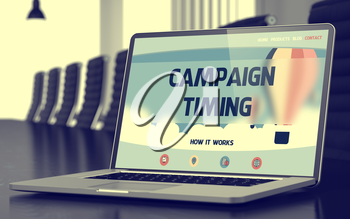 Modern Meeting Hall with Laptop on Foreground Showing Landing Page with Text Campaign Timing. Closeup View. Blurred. Toned Image. 3D Rendering.