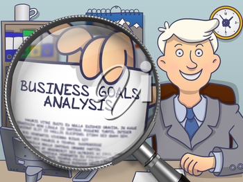 Businessman in Office Holds Out a Text on Paper Business Goals Analysis. Closeup View through Magnifying Glass. Colored Doodle Style Illustration.