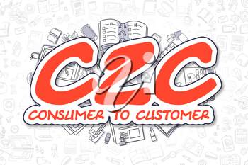 C2C - Consumer To Customer - Hand Drawn Business Illustration with Business Doodles. Red Text - C2C - Consumer To Customer - Doodle Business Concept.