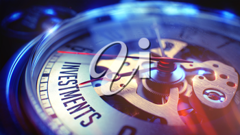 Pocket Watch Face with Investments Phrase on it. Business Concept with Lens Flare Effect. Investments. on Vintage Watch Face with Close View of Watch Mechanism. Time Concept. Film Effect. 3D.