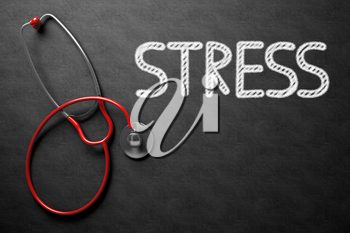 Medical Concept: Stress - Text on Black Chalkboard with Red Stethoscope. Medical Concept: Top View of Red Stethoscope on Black Chalkboard with Medical Concept - Stress. 3D Rendering.