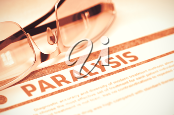 Paralysis - Medicine Concept with Blurred Text and Pair of Spectacles on Red Background. Selective Focus. 3D Rendering.