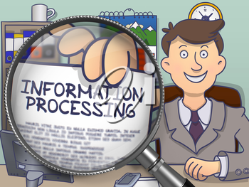 Business Man in Office Showing Paper with Inscription Information Processing. Closeup Vie through Lens. Multicolor Modern Line Illustration in Doodle Style.