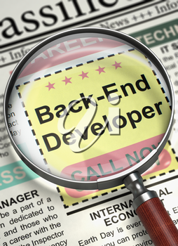 Back-End Developer - Job Vacancy in Newspaper. Column in the Newspaper with the Jobs Section Vacancy of Back-End Developer. Job Seeking Concept. Selective focus. 3D Render.
