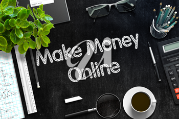 Business Concept - Make Money Online Handwritten on Black Chalkboard. Top View Composition with Chalkboard and Office Supplies on Office Desk. 3d Rendering. Toned Image.