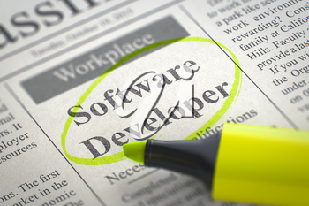 Software Developer. Newspaper with the Vacancy, Circled with a Yellow Marker. Blurred Image. Selective focus. Job Search Concept. 3D Render.