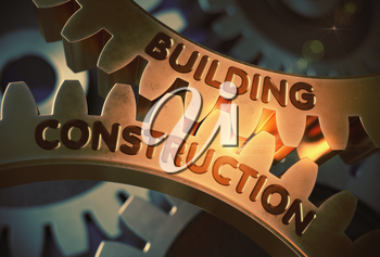 Building Construction on the Mechanism of Golden Cog Gears. Building Construction - Industrial Design. 3D Rendering.