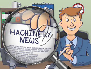 Machinery News. Cheerful Man Sitting in Office and Shows Paper with Concept through Magnifying Glass. Colored Doodle Illustration.