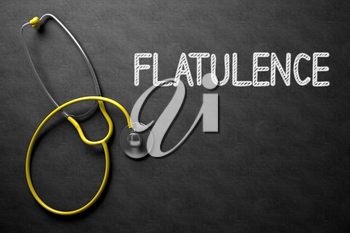 Medical Concept: Black Chalkboard with Flatulence. Medical Concept: Flatulence -  Black Chalkboard with Hand Drawn Text and Yellow Stethoscope. Top View. 3D Rendering.