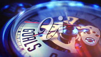 Goals. on Vintage Watch Face with Close Up View of Watch Mechanism. Time Concept. Vintage Effect. Pocket Watch Face with Goals Text on it. Business Concept with Lens Flare Effect. 3D Render.