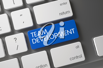 Concept of Team Development, with Team Development on Blue Enter Button on Computer Keyboard. 3D Render.